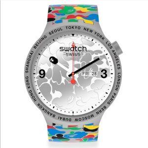 Bape x Swatch Grey Multi Camo Watch